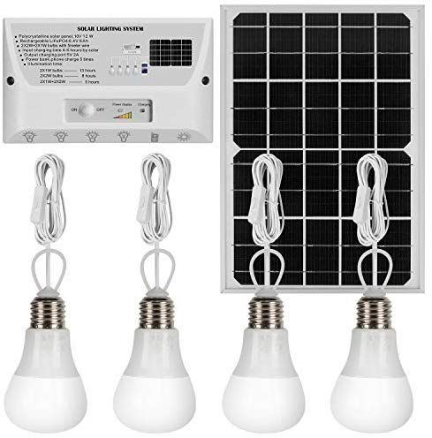 Yinghao Upgraded 12w Solar Panel With 4 Bulbs Solar Led Lighting System Phone Charger With 4 Importe Indoor Solar Lights Solar Light Bulb Led Lighting System