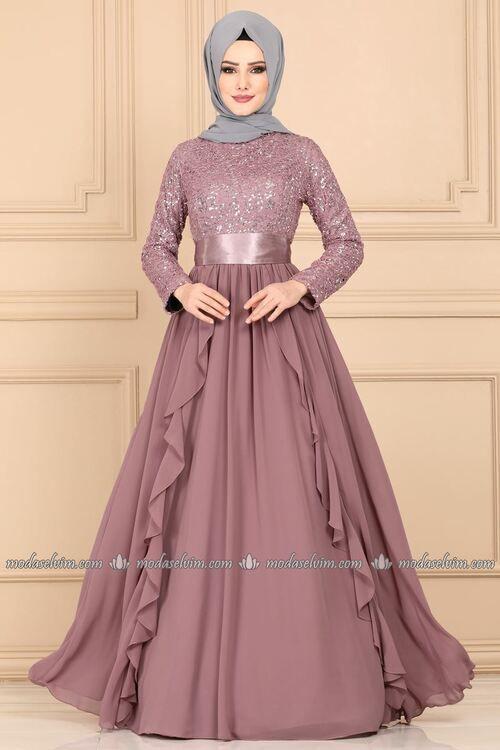 Modaselvim Abiye Firfirli Pul Payet Tesettur Abiye Ech7307 Pudra Muslim Fashion Dress Cute Dresses For Party Long Gown Dress