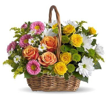 Bunch of multicolored flowers with seasonal ferns and petals packed in hand-crafted basket. Celebrate and surprise your loving ones on their Birthday, wedding, anniversary and valentine day. Avon India florist delivered fresh flowers across India.: