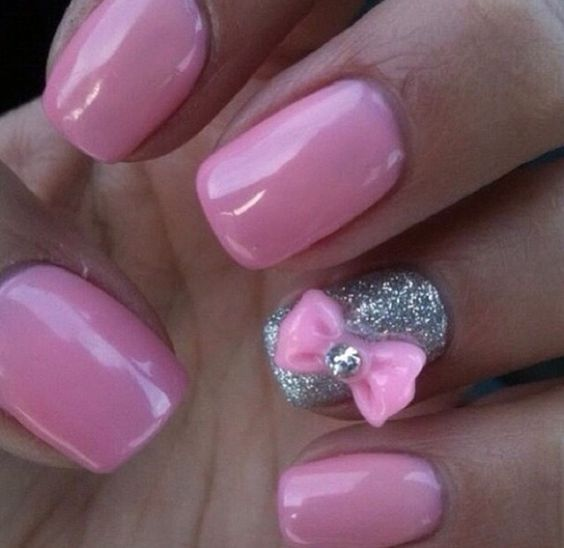Pretty pink bow nails