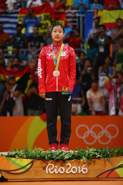 Bronze medalist Nozomi Okuhara of Japan celebrates during the medal ceremony after the Women's Singles Badminton competition on Day 14 of the Rio 2016 Olympic Games at Riocentro - Pavilion 4 on August 19, 2016 in Rio de Janeiro, Brazil.