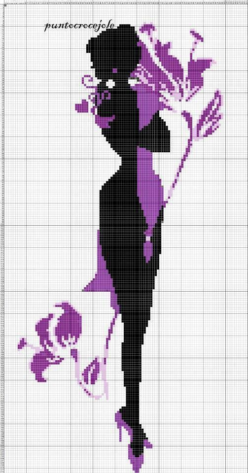 0 point de croix silhouette noir et violet fille - cross stitch black and purple girl: