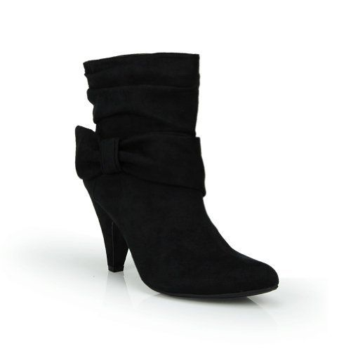 Pointed Toe Slouch Bow Ankle Bootie Black ~ Details ->> http://amzn.to/MfxXEP