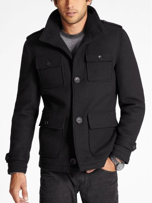 GUESS Men&39s Boiled Wool Peacoat | Jeremy | Pinterest | Posts Wool