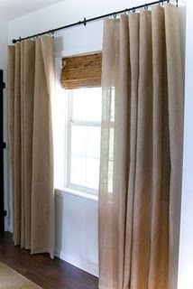 Burlap curtains...DIY, too! -LH