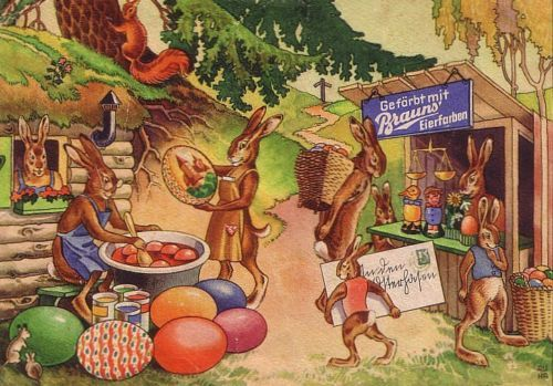 OSTERN-Reklame-Brauns-EIERFARBEN-Hasen-Marktstand-c1939-SELTEN