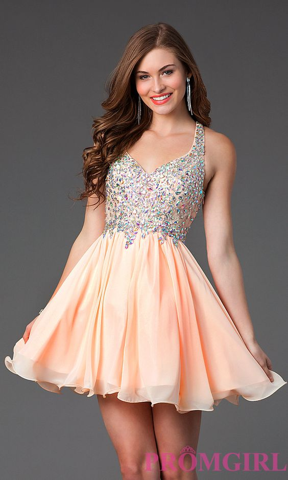 Image of Short A-Line Racer Back Beaded Prom Dress Style: DQ-8997 ...
