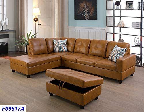 Amazon Com Lifestyle Furniture Left Facing 3pc Sectional Sofa Set Faux Leather Ginger Lsf09517 Faux Leather Sectional Faux Leather Sofa Leather Sectional Sofa
