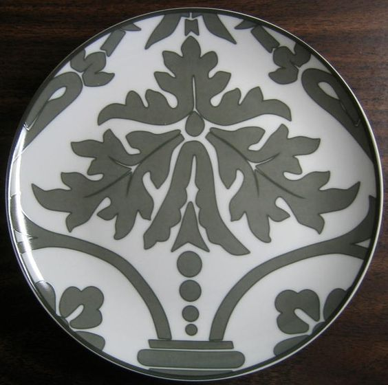 Gray on White Damask Exotic Wallpaper Scroll Decorative Plate B - Decorative Dishes