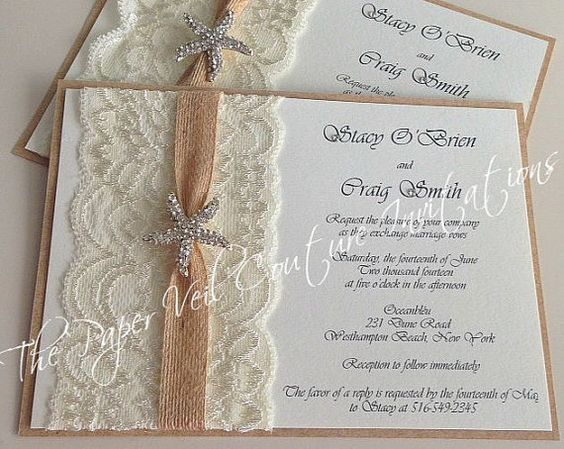 Rustic Vintage Lace Starfish Couture by thepaperveilcouture #rusticinvitations #starfishwedding #laceinvitations