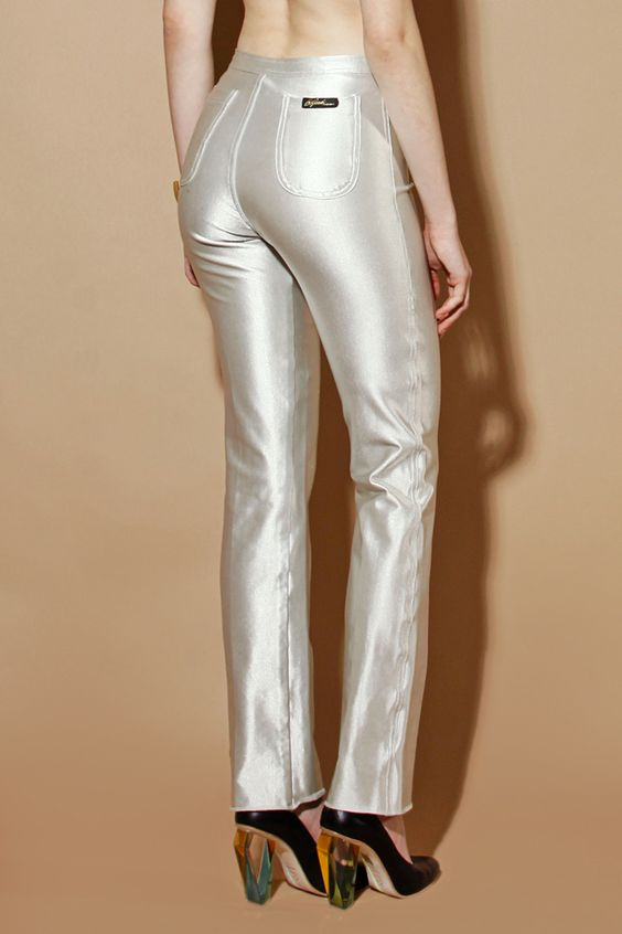 Shiny silver pants on tight ass
