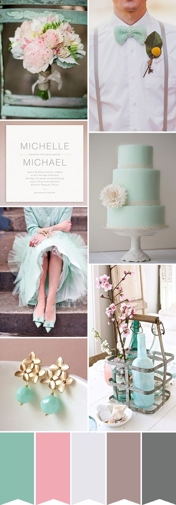 MINT-AND-PINK-WEDDING http://www.onefabday.com. Read More - http://onefabday.com/pink-mint-wedding-colour-palette/