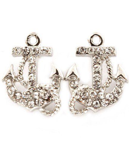 Sailor Navy Anchor Crystal Earrings - Navy Seal Anchor Earrings