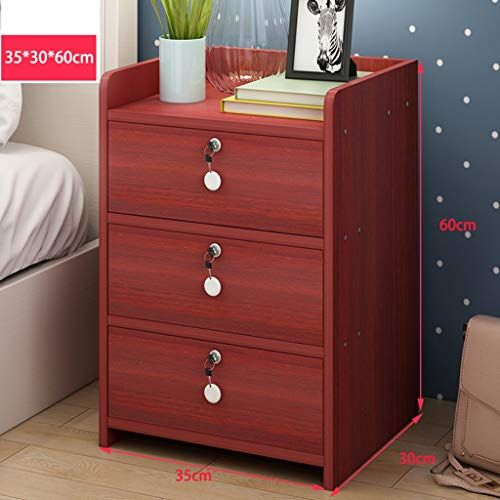 Bedside Table Gjm Shop Three Drawers With Lock Simple And Modern Bed Cabinet Storage Box Assembly Be Storage Furniture Bedroom Bedroom Cabinets Sofa End Tables
