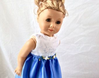 Blue Green and White Party Dress and Headband by MyGirlClothingCo