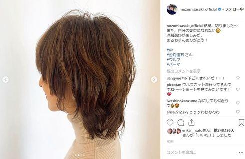 佐々木希 ウルフカット ヘアスタイル ショートカット パーマ 髪型