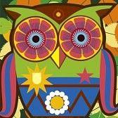 eule cartoon : psychodelic Kunst Porträt eines Comic-owl Illustration