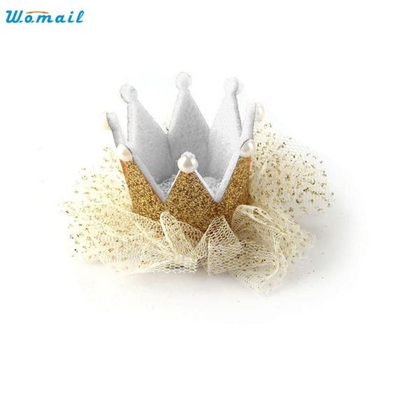Modern Ornament accessories Baby Girl Hairpin Crown Pearl Princess Hair Clip for Kids Party Accessories Headwear clothes H10