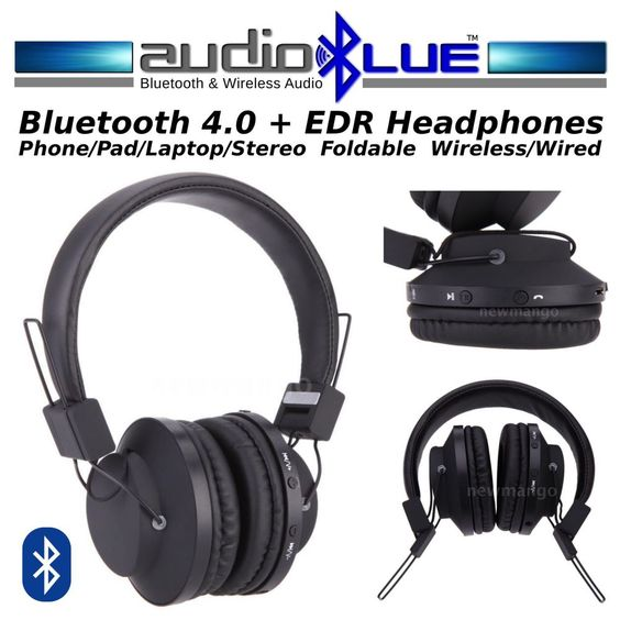 AudioBLUE Bluetooth 4.0 Stereo Headset -Noise Cancelling Wireless-phone/devices  #MicroMediaAudioBLUE