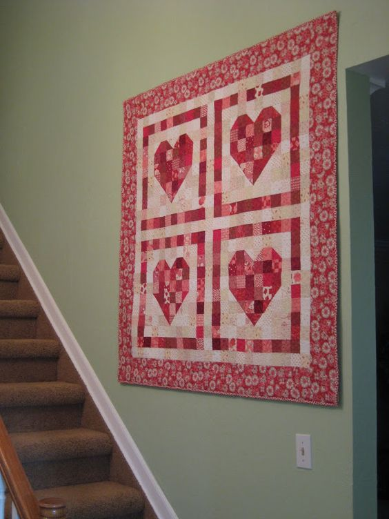 4 patch Valentine wall hanging. I need more low volume fabrics. {stuph from steph} Be My ...