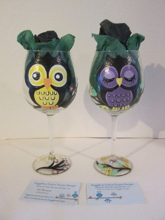 """Owl Drink To That"" hand painted wine glasses! 2 whimsical owls hand painted on wine glasses, they're a real ""hoot""! https://www.facebook.com/buggybeandesigns"