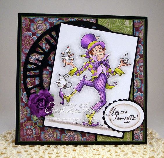 Whimsical Tea-riffic card by Tracy MacDonald