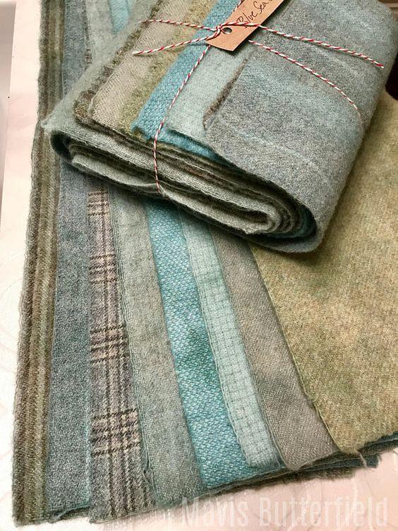 Hand Dyed Wool, Rug Hooking, Hooked Rugs, Sea Glass, Blue Wool, Primitive Colors, Wool Hooked Rug, Folk Art
