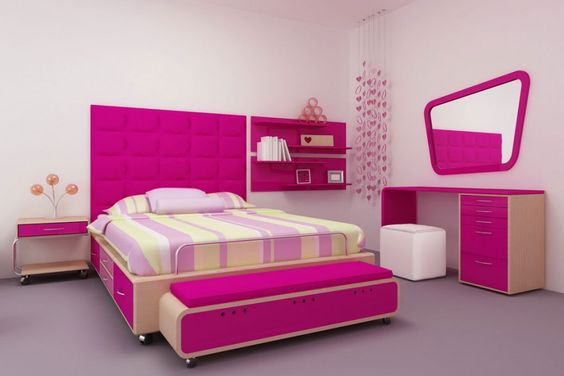Bedroom, The Exciting Design Of Bedroom Painting For Adults With Pink Bed And Assorted Color Of Quilt Bed On Purple Floor With Pink Wall And Pink Brown Cabinet ~ The Sweet Decoration Style Of Bedroom Painting Ideas For Adults With The Excellent Design