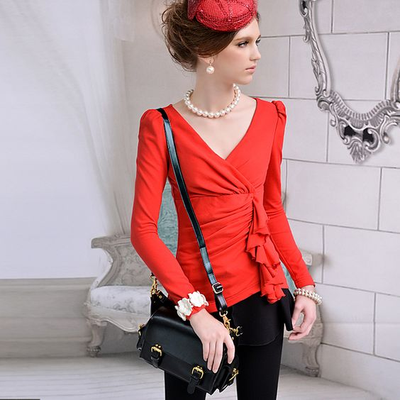Womens summer Slim fit Round Collar Long Puff Sleeve Tshirt  red