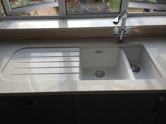 Franke Sink With Drainboard : Franke Kubos sink with recessed drainer in Quartz worktop Kitchens ...