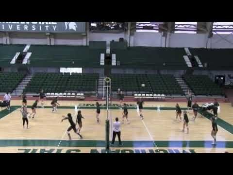Michigan State Volleyball Serve Receive Drill Volleyball Serve Michigan State Volleyball Volleyball Training