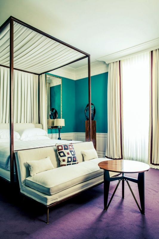 Purple carpet turquoise walls and canopy beds on pinterest for Turquoise bed frame