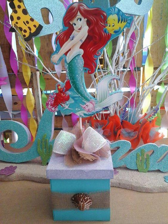 Centro de mesa de la sirenita princesa ariel the little mermaid pinterest mesas - Centros de decoracion ...