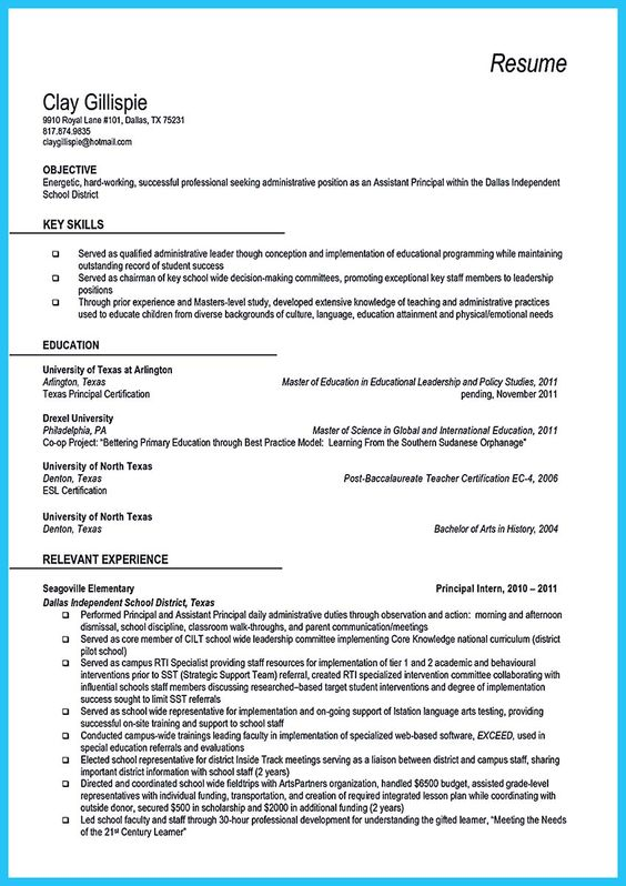 awesome An Effective Sample of Assistant Principal Resume, Do - resume teacher assistant