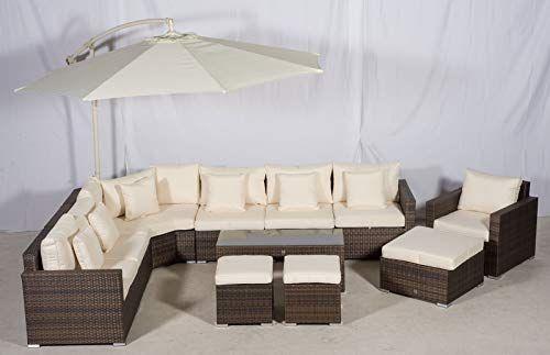 Giardino Santorini 7 Seater Rattan Corner Sofa Set Armchair 2 Stool Coffee Table Ottoman Pa Rattan Corner Sofa Outdoor Furniture Covers Garden Sofa Set