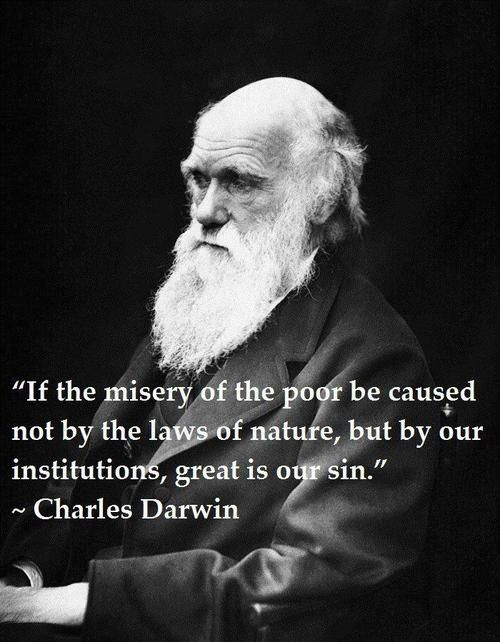 If misery of the poor be caused not by the laws of nature, but our institutions great is our sin. Charles Darwn