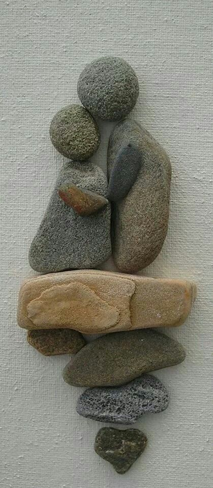 Decorative Stone Art : Clever rock art scenes like this would be very nice on an