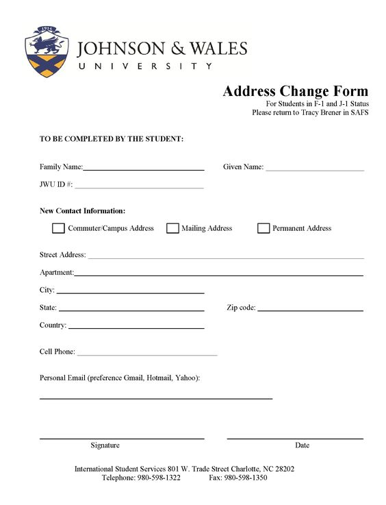 CHANGE OF ADDRESS FORM - you must let your International Student - official change of address form