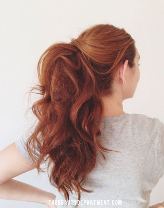 13 Red Hairstyles On Fire This Fall | Curly High Pony | Hairstyleonpoint.com