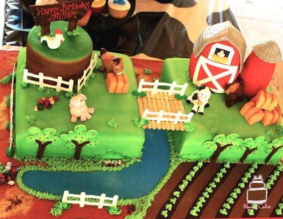 farm theme birthday cake