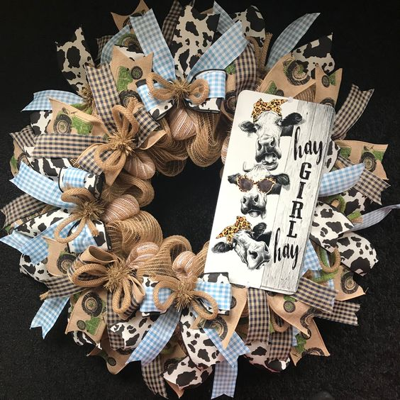 Hay Girl Hay Burlap Mesh Wreath Ribbon Wreath Country Door Farmhouse Decor Door Hanger Front Door Wreath Entryw Burlap Mesh Wreath Wreaths Burlap Wreath