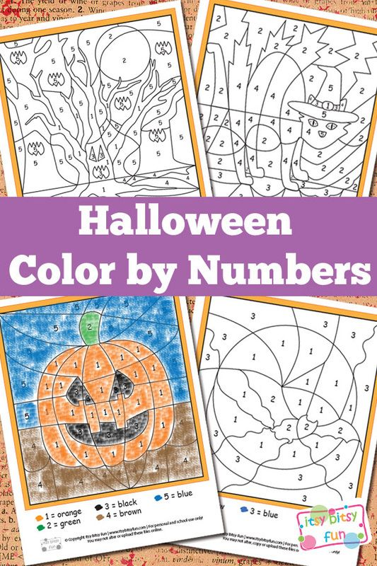 Halloween Color by Numbers Worksheets: