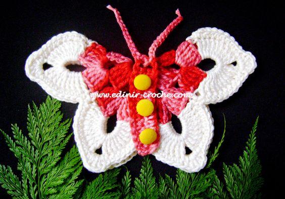borboletas em croche da coleção aprendi e ensinei com edinir-croche dvd video-aulas blog loja frete gratis