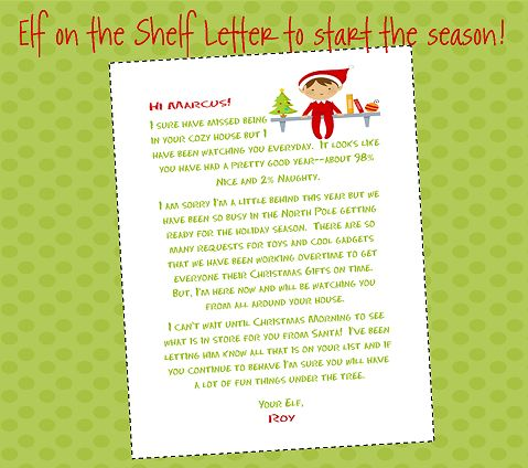 Elf on the shelf letter to start the season off. Perhaps at te morning brief file for zip
