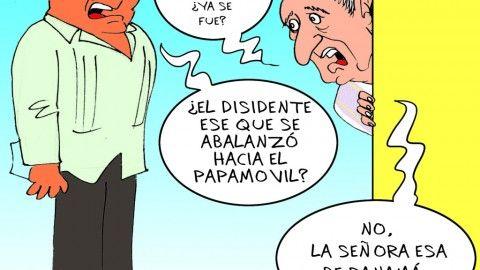 Papa en Cuba | Caricatura de Delmiro