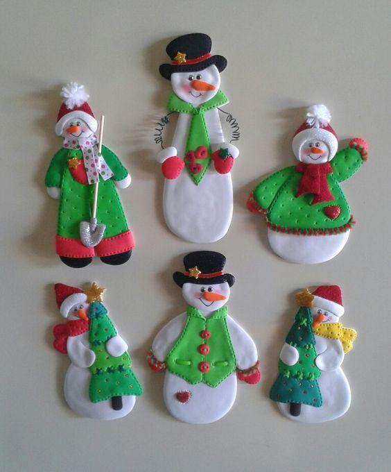 Muñecos de nieve_Imánes para decorar la nevera, elaborados con ...