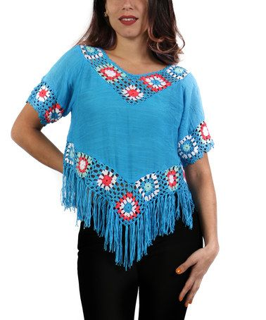 This Turquoise Crochet & Fringe-Trim Tunic - Plus is perfect! #zulilyfinds