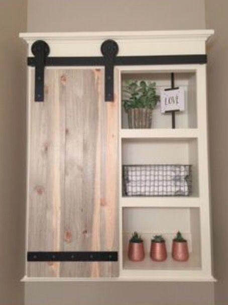 21+ Barn door bathroom wall cabinet diy