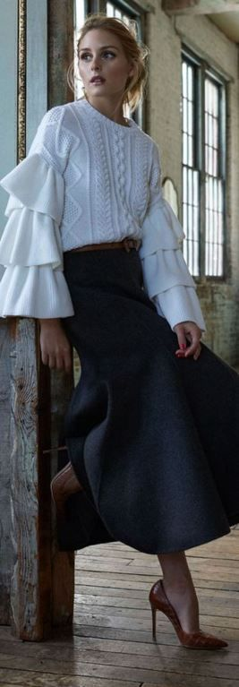 Who made  Olivia Palermo's gray skirt, brown belt, and white cable knit sweater?: