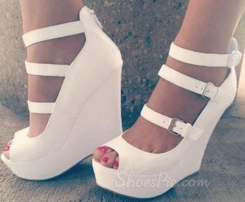 elegant white coppy leather wedge heel three ankle strap shoes ...